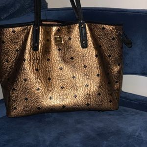 MCM Metallic Gold Visetos Medium Tote